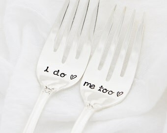 I Do, Me Too wedding forks. Hand stamped wedding decor by Milk & Honey.