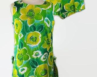 60s John Abbott Mini Dress, Shorts Set, Flower Power, Mod