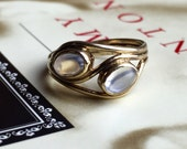 VALENTINES DAY SALE Vintage Double Moonstone Gold Ring British Crossover Bypass Toi et Moi Art Nouveau Style