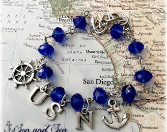 US Navy beaded charm bracelet by Son and Sea free US shipping