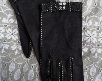Vintage Gloves Saks Fifth Avenue Black Cotton 1950s Tiny Button Trim Size 6-1/2