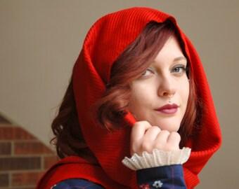 Vintage red fine-wool scarf, fringe