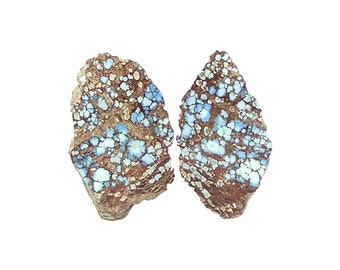 Blue Turquoise Cut and Polished Natural Nugget, Raw Gem, Kazakhstan Gemstone Geo Specimen Gemstone Focal, Collector's Choice, Flower Jewel