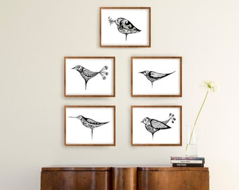 Minimal floral birds black and white prints -Modern bird print ooak /Set print wall art/Set option amount/Choose one two three four or five