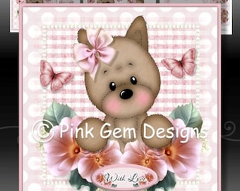 Millie with Flowers  - Downloadable Card Kit with Decoupage. Cairn Terrier Puppy