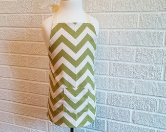 Toddler Green Chevron Apron with Pocket - Can be Personalized, Free Shipping, Made in The USA