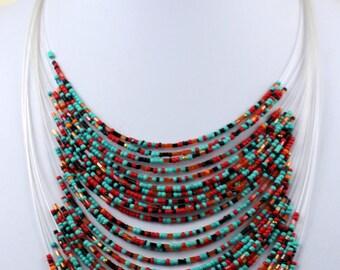 Multi Colour Neon Necklace with Masai Beads. Funky, Bright, Playful Choker. Maasai Beads. Handmade. MapenziGems