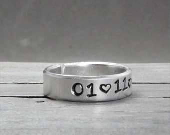 Personalized Date Ring, Custom Stamped Ring, Personalized Ring, Non Allergenic Jewelry, Personalized Jewelry