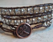 Leather and Glass Bead Wrap Bracelet