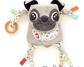 Pug Baby Blanket Lovey Teething Organic Ring Toy Friend