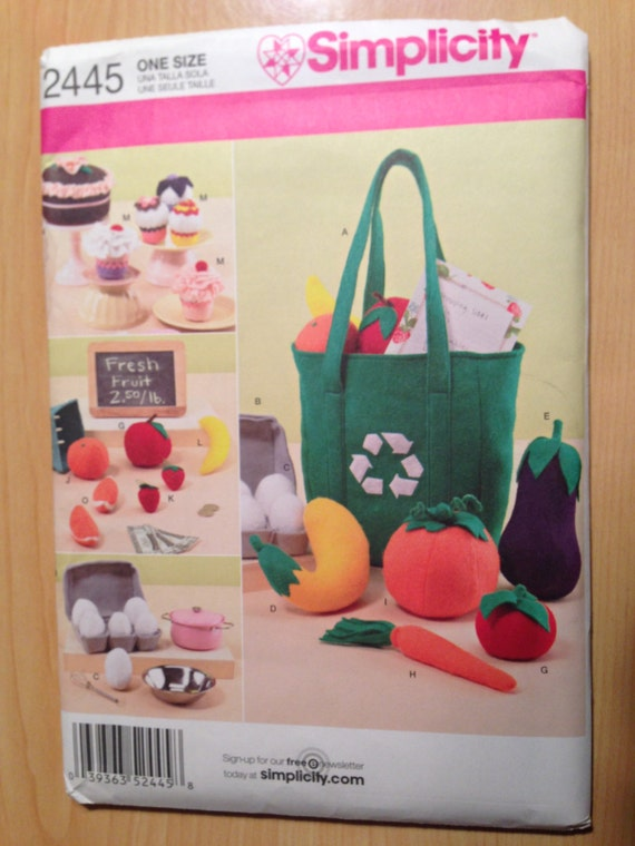 Simplicity 2445 Sewing Pattern Felt Play Food, Egg Cartoon and Bag Childrens Toy