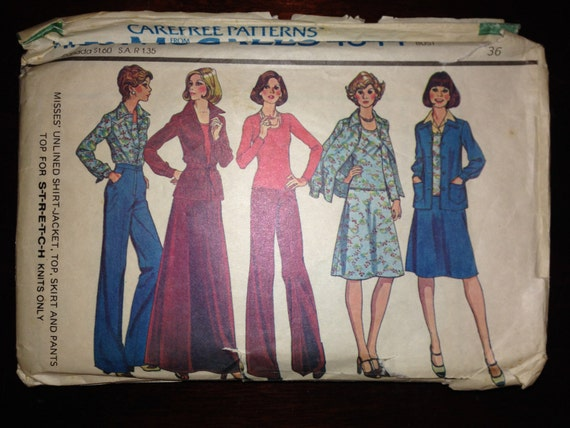 McCalls 4844 Sewing Pattern 70s Misses Unlined Shirt-Jacket, Top, Skirt and Pants Size 14