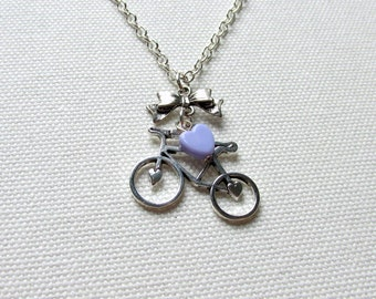 Bike Necklace Silver Bicycle Charm Cyclist Necklace Vintage Style Pastel Lilac Heart Retro Jewelry