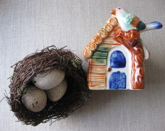Tiny Birdhouse Planter Ceramic Made in Japan Mid Century Garden Decor House Bird Handpainted Cottage