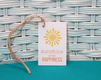 Hand Stamped Set of 8 Sunshine and HappinessTags