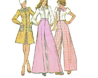 McCall's Sewing Pattern 70s Retro Bell Bottom Wide Leg Pants Mini Dress Button Front Blouse Long Short Puff Sleeves Bust 34