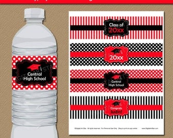 Graduation Water Bottle Labels, High School Graduation Party Decor, College Graduation Party Ideas, Water Bottle Label Template Red Black G4