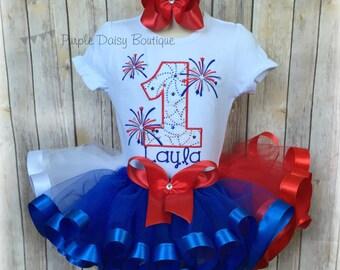 Firework First Birthday Ribbon Trim Tutu Outfit - Fourth of July Birthday Tutu Outfit - Red White and Blue Ribbon Trim Tutu Set