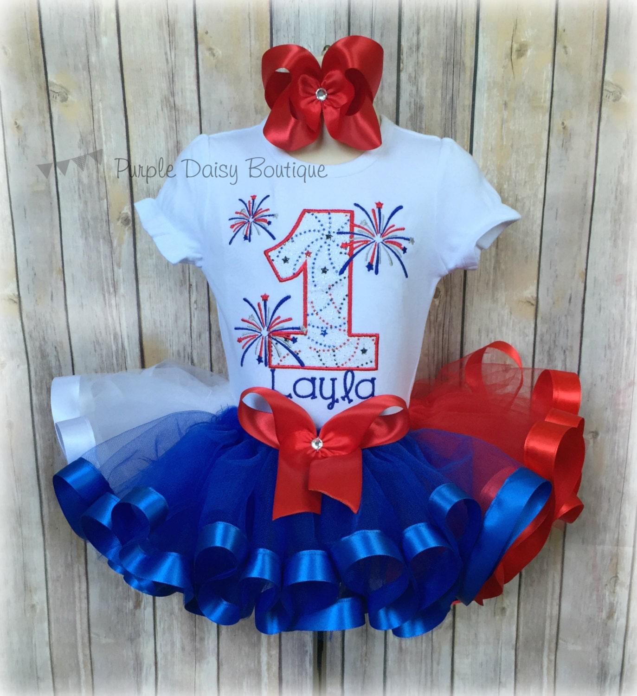Firework First Birthday Ribbon Trim Tutu Outfit Fourth Of