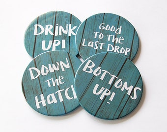 Drink Coasters, Rustic Decor, Coasters, Hostess Gift, Tableware, Barware, Cottage Chic, Drink up, Bottoms up, funny drink coasters (5754)