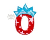 Star spangle inital letter O iron on applique, Patriotic monogram embroidered patch, Liberty letter O July 4th holiday monogram, 4th of july
