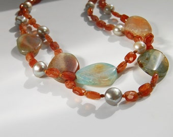 Hessonite Garnet Necklace . Double Strand . Fire Agate and Pearls
