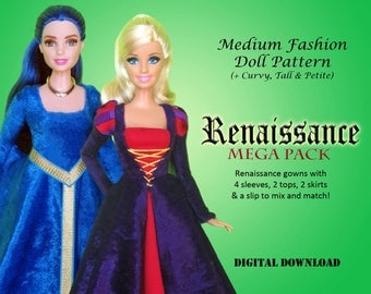 "Renaissance Gown Medieval Dress Clothes Pattern for Medium 11.5"" Dolls: Barbie, Disney Princess, Fashion Royalty, Petite, Tall"