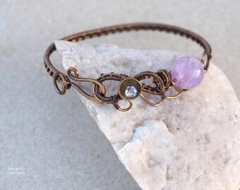 Amethyst wire wrapped bracelet