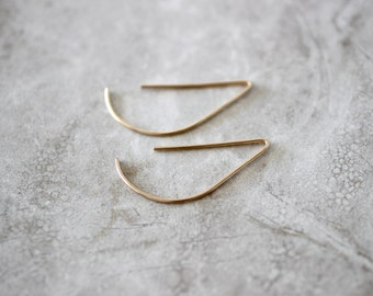 Half Circle Threader Earrings, Minimal Earrings