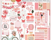 Happy Planner OR EC Printable Planner Kit in Pink & Coral February Valentine, Roses, Hearts, Flowers  5 PDF Bible Journaling  love Icons