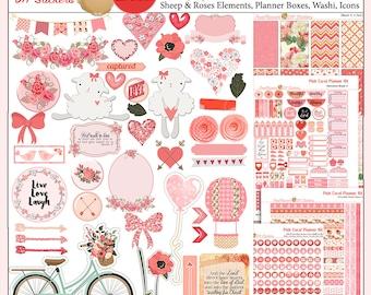 Planner Kit! Planner Kit in Pink Coral Roses, Hearts, Flowers  5 PDF, Happy Planner & EC, Bible Journaling Valentine