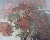 Oval Vintage Oil on Board Red Flowers Floral Painting Still Life Artist Signed  Framed