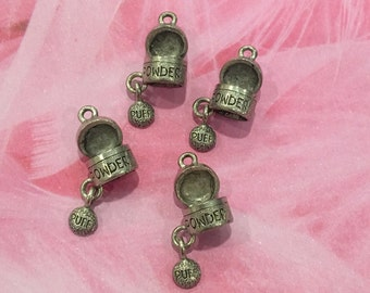 Powder Puff Makeup Charms -4 pieces-(Antique Pewter Silver Finish)