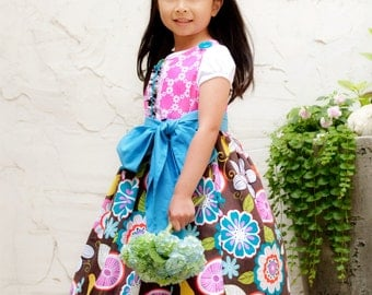 Floral Dress - Girls Dress - Special Occasion -  Knot Dress - Wedding - Flower Girl - Turquoise Color  - KK Children Designs - 2T to 6T