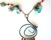 Spiral Pendant, Copper Wire Wrapped Necklace, Abalone Shell Beads, Patina, Primitive Jewelry, Red Beaded Necklace