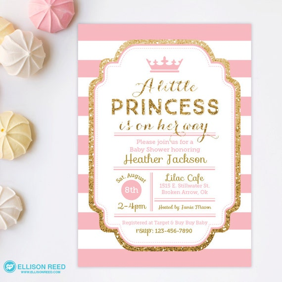 princess baby shower invitation pink and gold baby shower invitation