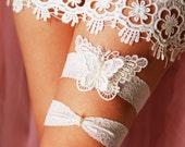 Wedding Bridal Garter Set Garter Belts - Alice in Wonderland Rustic Boho Woodland Wedding - Pearls Ivory Butterfly Embroidered Lace