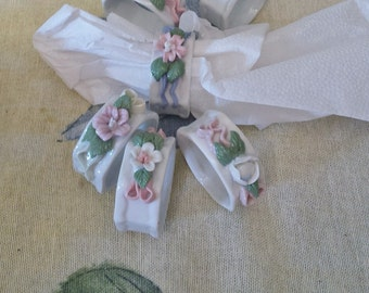 Lovely pastel ceramic flower napkin holders set of six