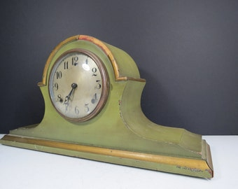 Antique Gilbert Mantle Clock // Large Wooden Sage Green and Gold Tabletop Clock Non-Working Home Decor Piece Worn Distressed Antiqued