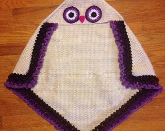 Hooded Owl Blanket, Owl Blanket, Hooded Blanket, Owl, Baby Blanket, Baby Girl, Girly Blanket, Baby Shower Gift, Baby Owl, Crochet Blanket