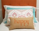 happy pillow, decorative orange pillow, burlap pillow, happy, home decor, orange nursery decor, gift under 40 by whimsysweetwhimsy