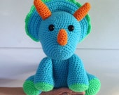 Trevor the Triceratops, Crochet Dinosaur Stuffed Animal, Plush Animal, Dinosaur Stuffed Toy, MADE TO ORDER