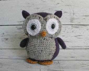 Flower the Owl, Crochet Owl Stuffed Animal, Owl Amigurumi, Plush Animal, Made to Order