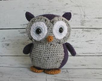 Flower the Owl, Crochet Owl Stuffed Animal, Owl Amigurumi, Plush Animal, Ready to Ship