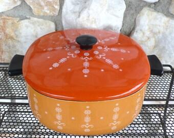 Vintage Mid Century Modern Orange Enamel Cooking Pot Flower Enamelware