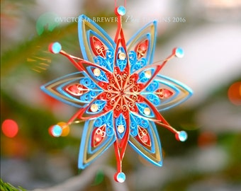 Christmas decoration, Eco-friendly, quilled paper