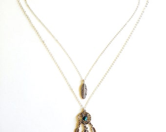 Dream Catcher Feather Necklace
