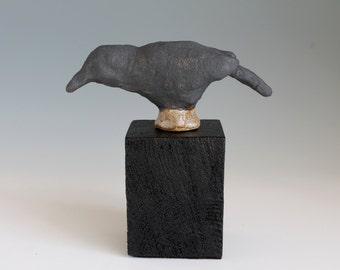 Ceramic Sculpture, Ceramic Crow, Crow Rook Art, Ceramic Wild Bird Art, Stoneware Sculpture with a wood mount
