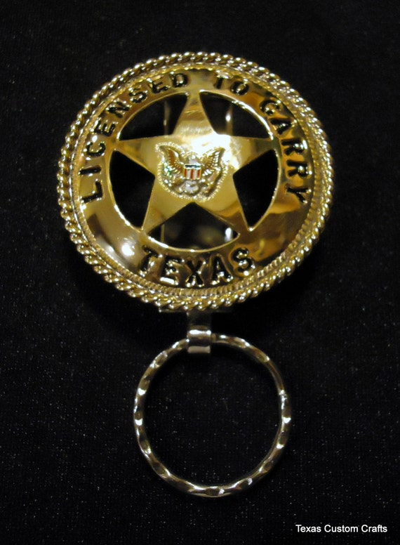 handmade state of texas open carry handgun license keychain
