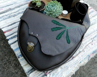 Recycled Leather Satchel Brown Leather Handbag with Green Banksia Leaf Detailing Australian Native